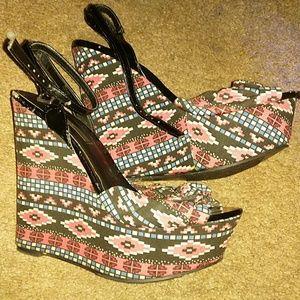 Platform high heels.